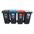 Different coloured wheelie bins