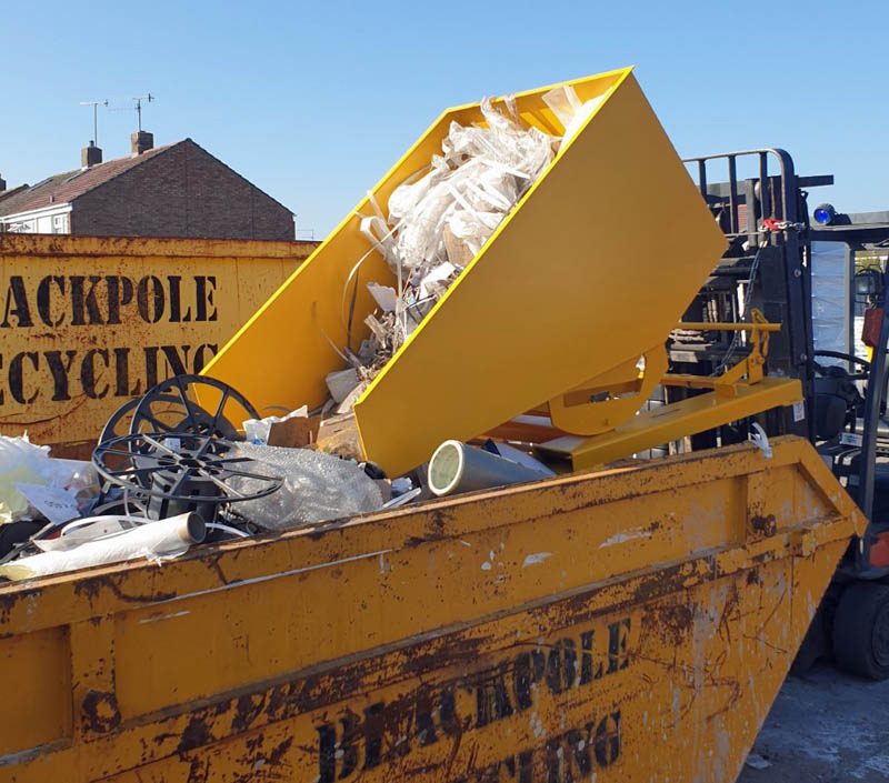 tipping skip in use